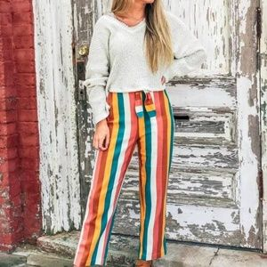 Pants - Stripe Trouser with Waist Tie